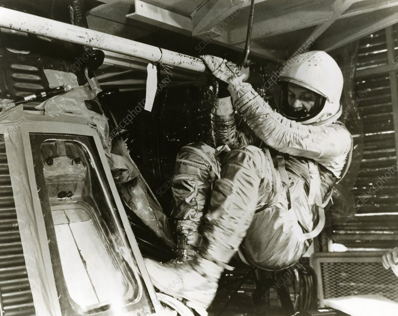 Astronaut John Glenn in 'Friendship 7' spacecraft
