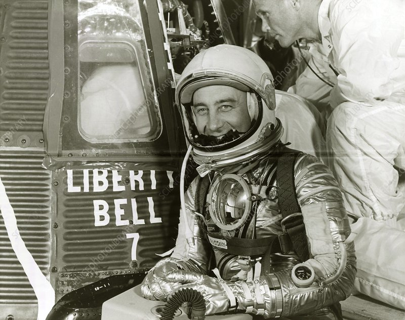 Gus Grissom next to capsule, Mercury MR4