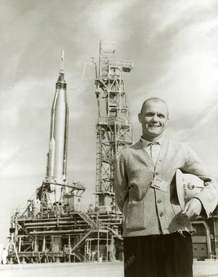 Astronaut John Glenn at launch site