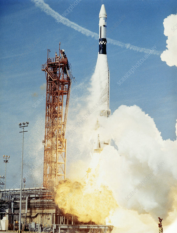 Atlas-Agena rocket launch for Gemini 8 - Stock Image S340 ... | 606 x 800 jpeg 121kB
