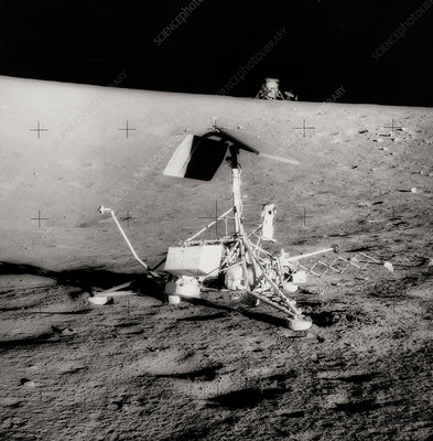 Surveyor spacecraft and Lunar Module on moon