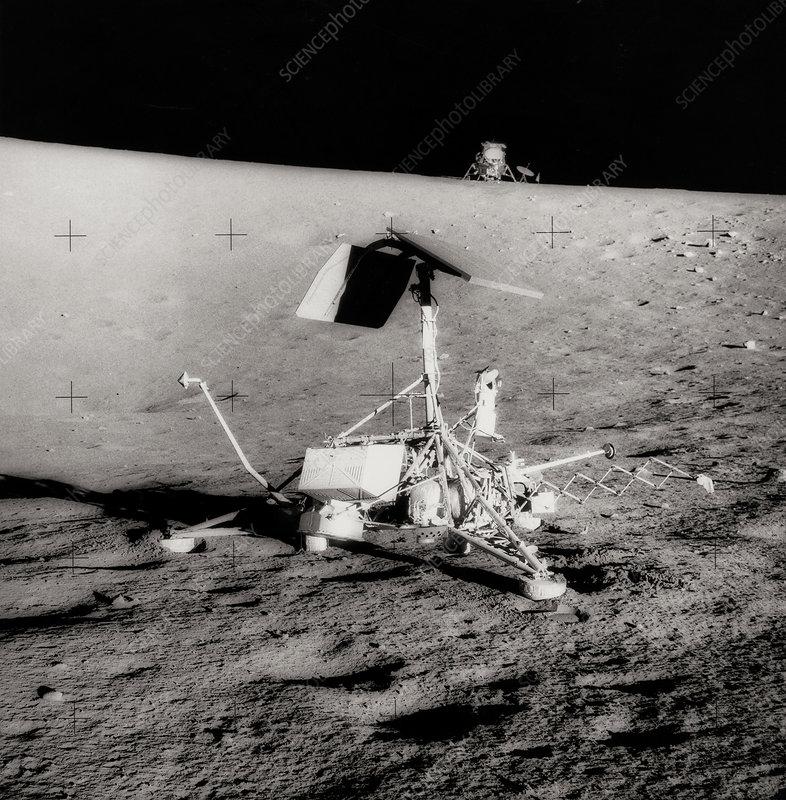 Surveyor spacecraft and Lunar Module on moon