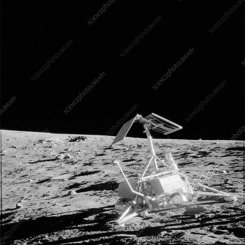 Unmanned Surveyor 3 spacecraft on Moon