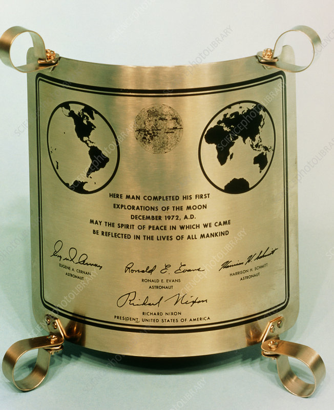 Commemorative plate left on Moon by Apollo 17