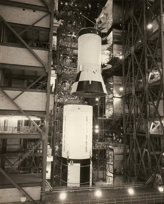 Assembly of the Saturn V rocket used for Apollo 11