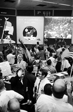 Mission control celebrate Apollo 11 lunar landing