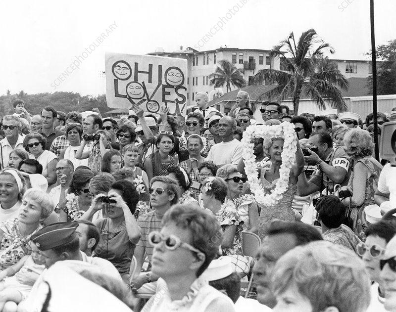 Crowd greeting Apollo 11 astronauts