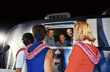 Apollo 11 crew greeting wives from quarantine unit