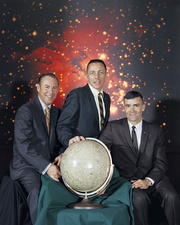 Crew of Apollo 13 in pre-flight portrait