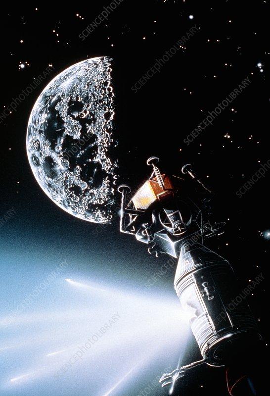 Artwork showing explosion on board Apollo 13