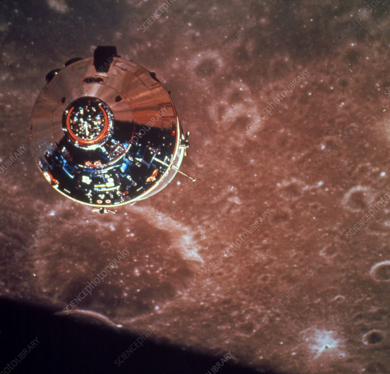 Apollo 10 command module seen orbiting the Moon