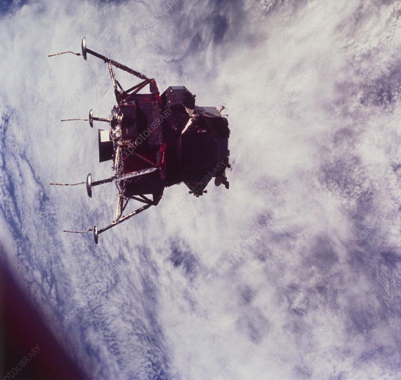 Apollo 9 lunar module above earth