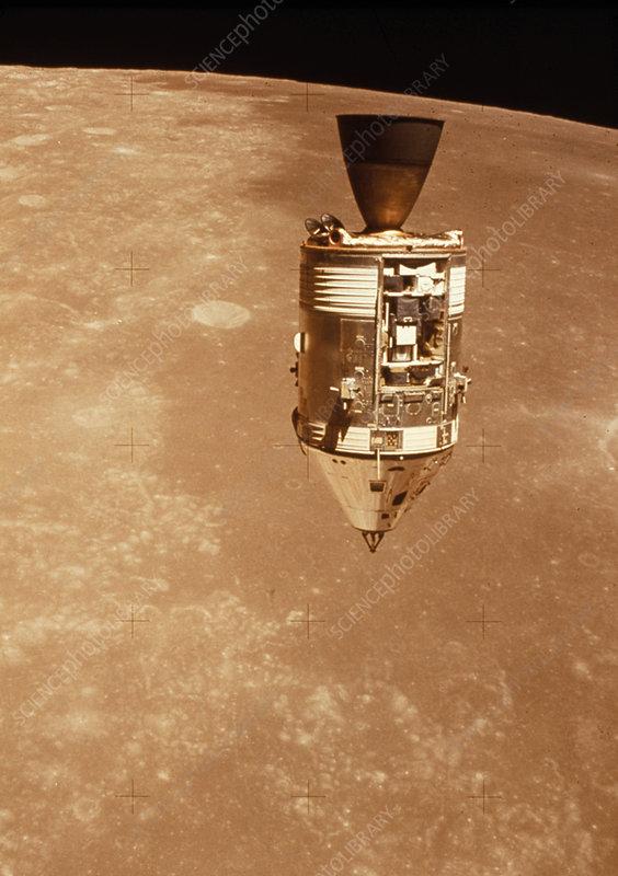 Apollo 15 Command Module above moon