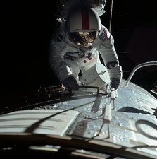 Apollo 17 astronaut during spacewalk