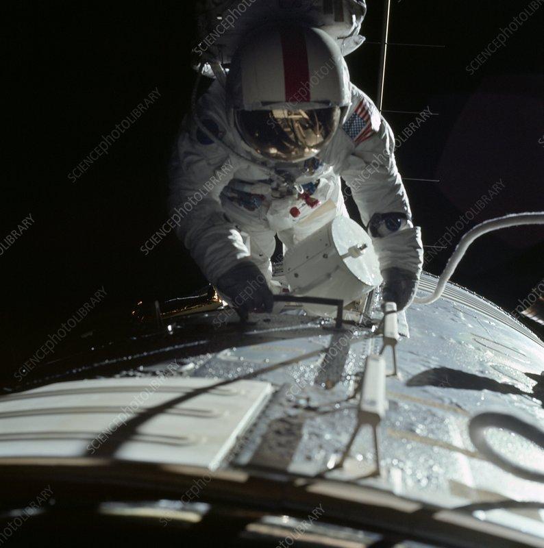 Apollo 17 astronaut during spacewalk