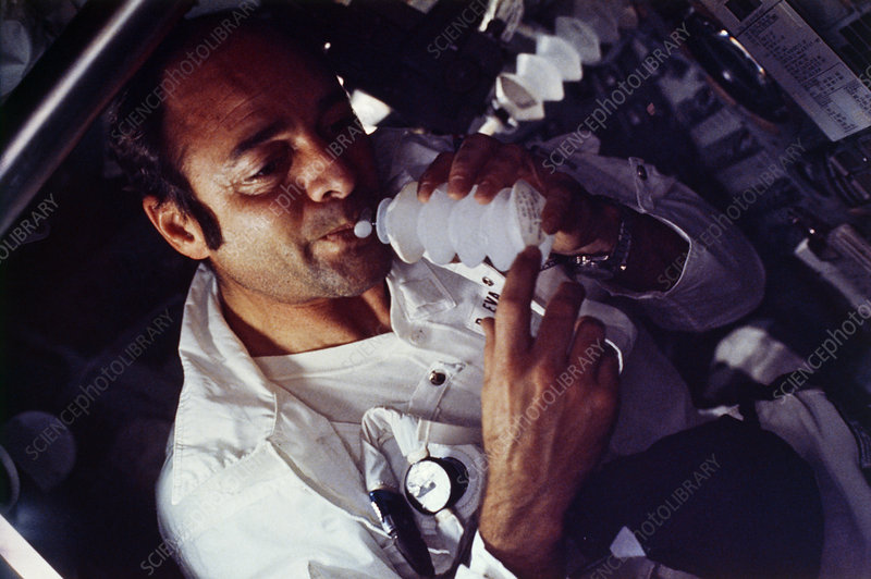 Apollo 17 astronaut drinking