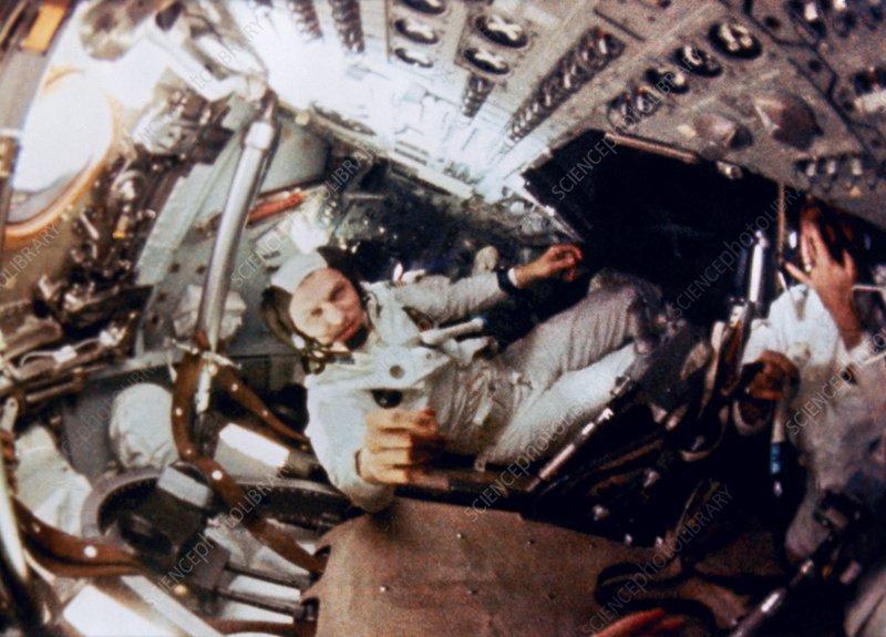 Apollo 8 astronaut Frank Borman in flight