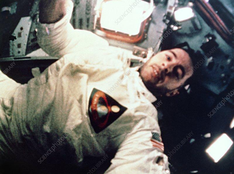 Apollo 8 astronaut in flight