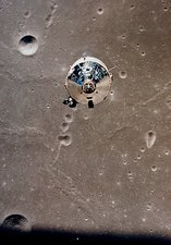 View of Apollo 11 Command Module in lunar orbit