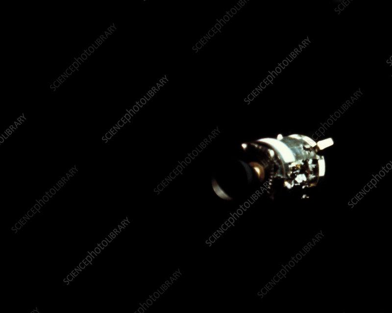 Apollo 13 service module, showing explosion damage