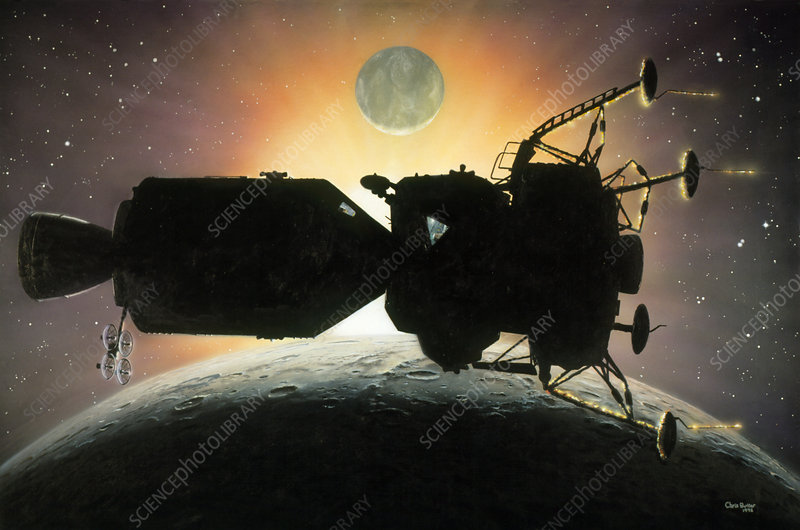 Artwork of Apollo spacecraft over Moon