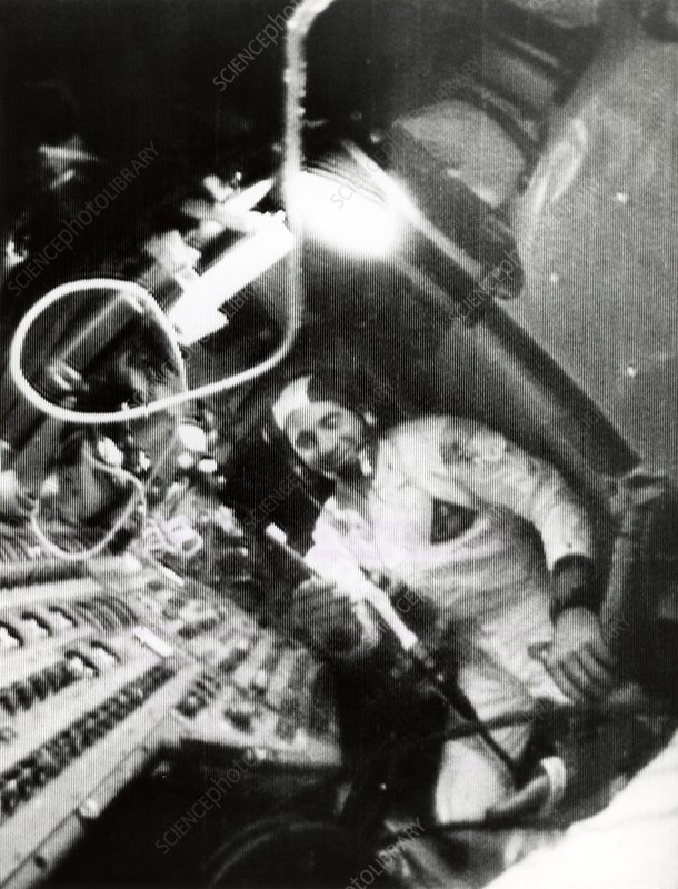 Apollo 8 astronaut brushes teeth