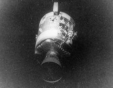 Apollo 13 view of damaged service Module SM
