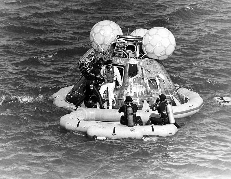 Astronaut leaves Apollo 17 after splashdown