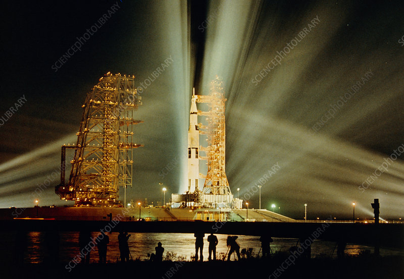 Floodlit scene at Kennedy space center