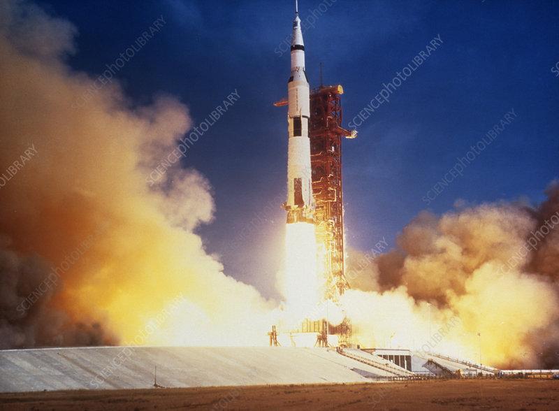 Launch of Apollo 11 spacecraft en route to Moon