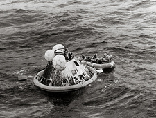 Apollo 11 spacecraft & crew after splashdown