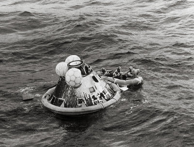 Apollo 11 spacecraft and crew after splashdown