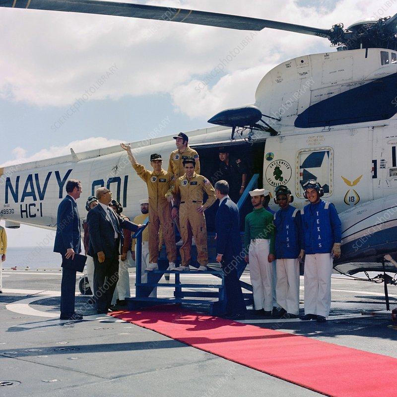 Crew of Apollo 17 on recovery ship