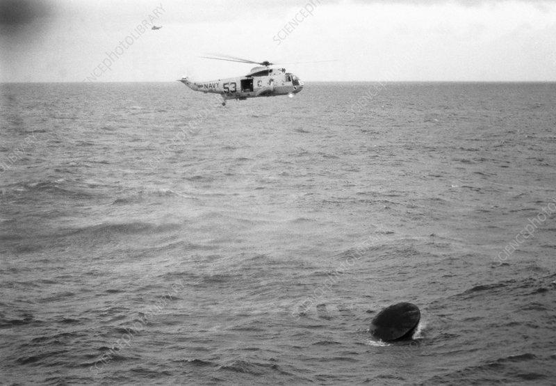 Apollo 11 spacecraft seconds after splashdown