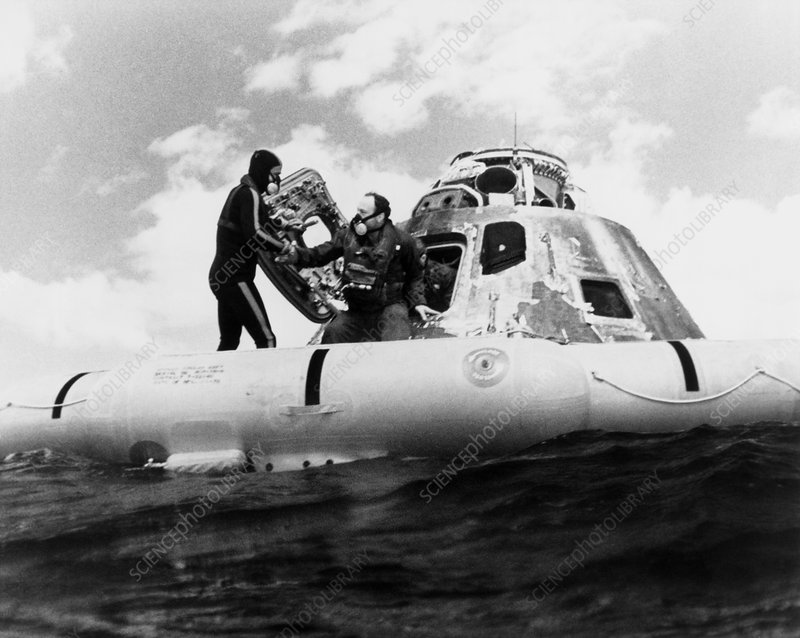 Edgar Mitchell emerging from the Apollo 14 capsule
