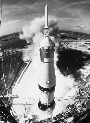 Launch of Apollo 11 mission on a Saturn V rocket