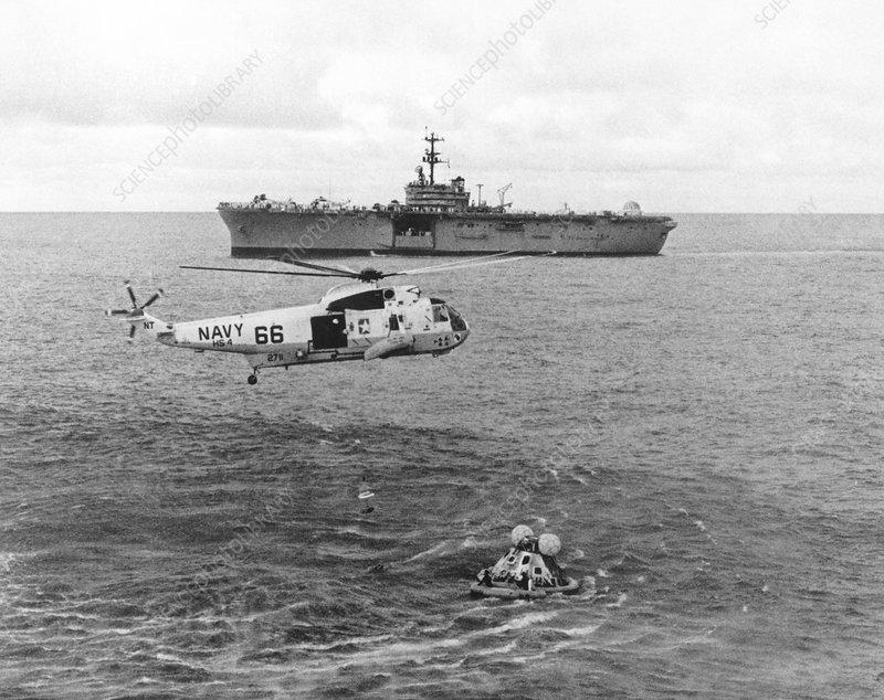 Apollo 13 splashdown & helicopter