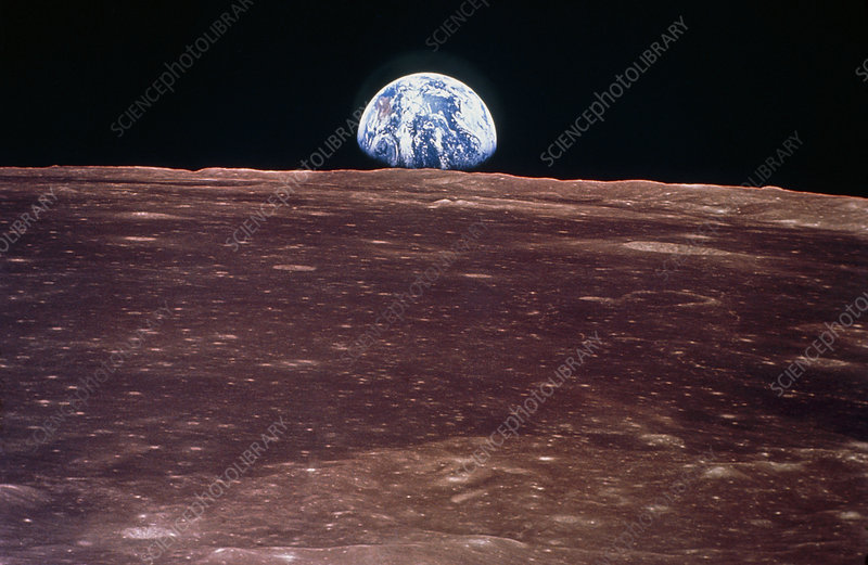 Apollo 11 view of Earthrise on the Moon