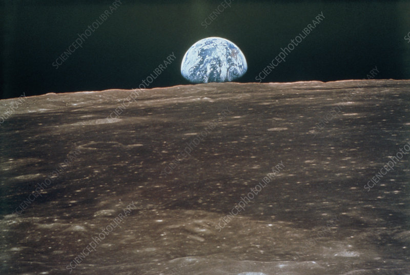 Earthrise from Moon during Apollo 11