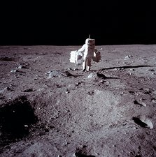 Aldrin prepares to deploy EASEP components on moon