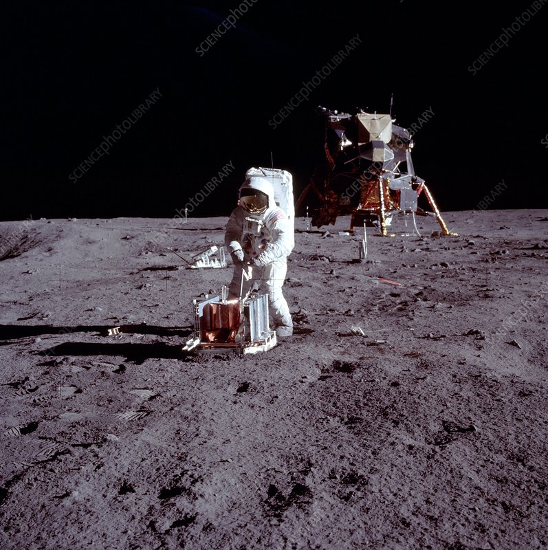 Apollo 11 astronaut Aldrin deploying EASEP on Moon