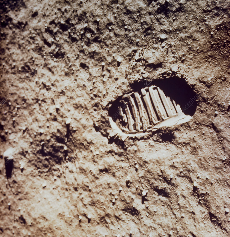 Apollo 11 footprint on Lunar soil
