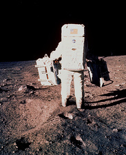 Apollo 11 astronaut Edwin Aldrin setting up EASEP