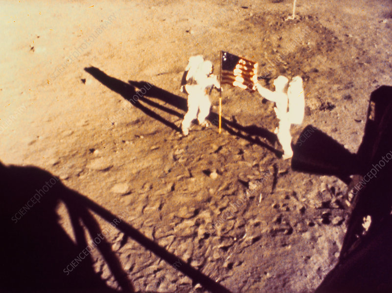Apollo 11 photo showing placing of US flag on moon