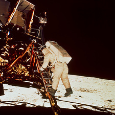 Apollo 11 astronaut E. Aldrin leaving Lunar Module
