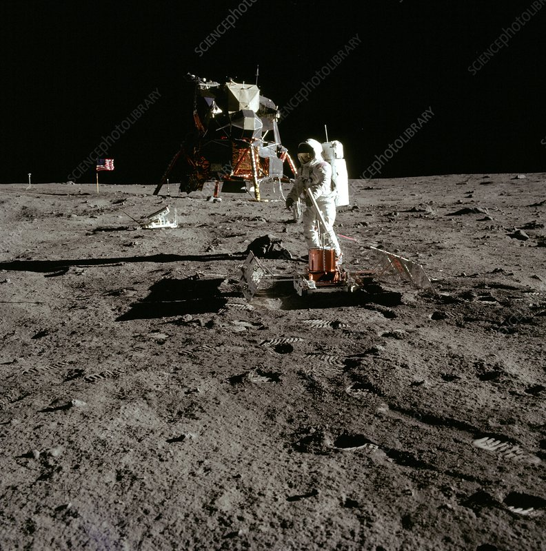 Apollo 11's Buzz Aldrin deploying EASEP experiment
