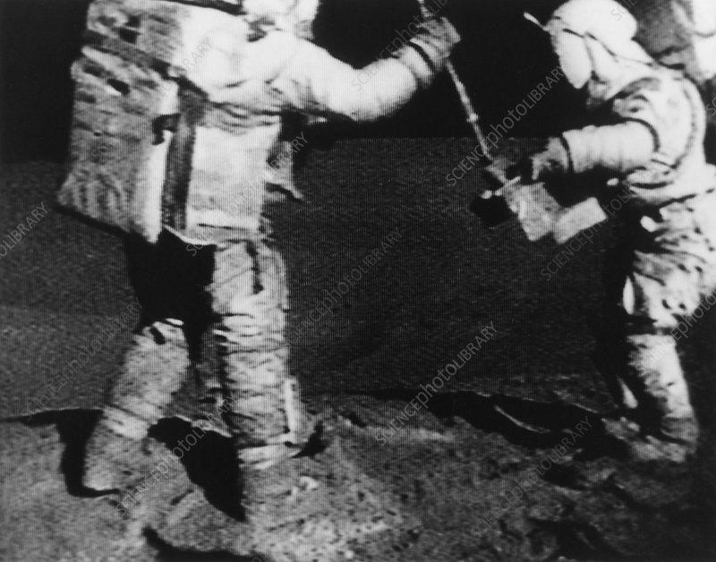 Apollo 16 astronauts collect moon samples