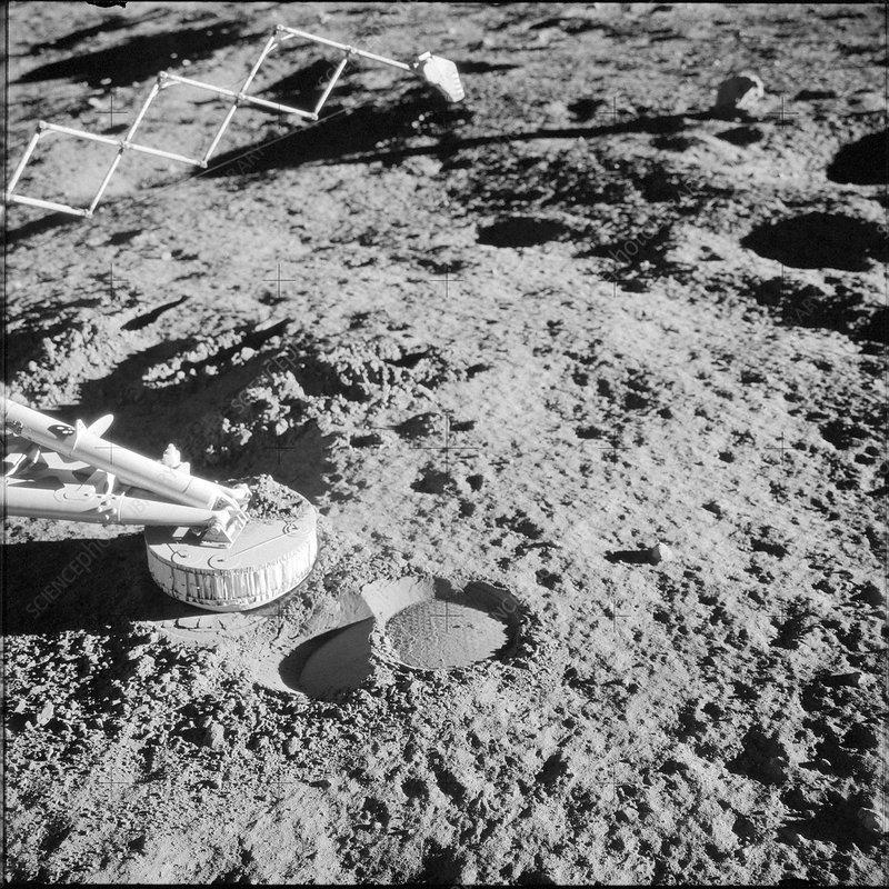 Apollo 12 footpad of surveyor III spacecraft