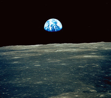 Earthrise photographed from Apollo 11 spacecraft