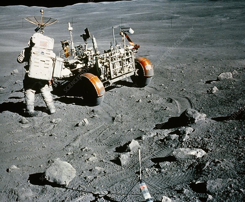 Apollo 16 astronaut Charles Duke with lunar rover